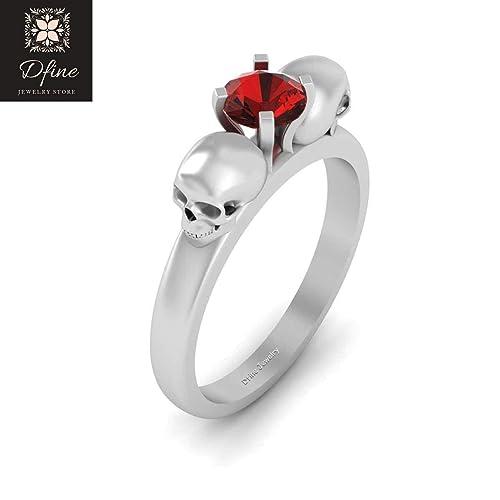 3923378fe9956b Amazon.com: Solid 14k White Gold Skull Wedding Ring Solitaire Red Diamond  Gothic Skull Engagement Ring Womens: Handmade