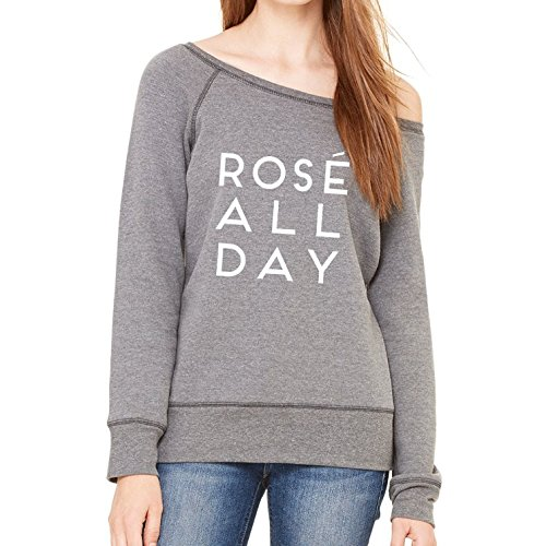 Rose All Day Sexy Wide Neckline Airlume Combed and Ringspun Cotton/Polyester Sweatshirt for Women
