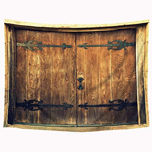 (Riyidecor Wooden Door Tapestry 80x60 Inch Board Brown and Black Door Handle Shabby Chic Tapestry Beauty Vintage Simulation Rustic Barn Door Wall Hanging Indigenous Bedroom Living Room)