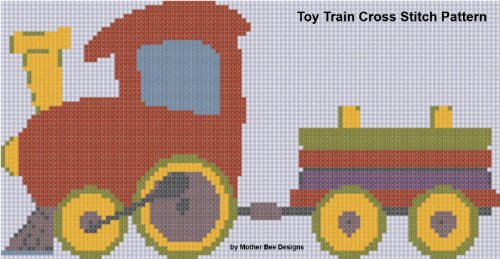 (Toy Train Cross Stitch Pattern)