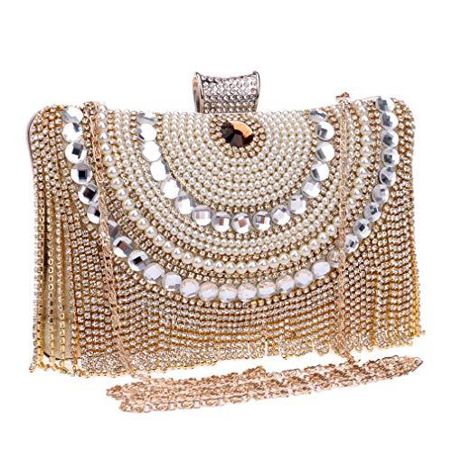 Sac Soirée Gold Main Épaule Strass De Sacs Gland Métal Diamants en De Sacs Embrayage Mariage De Sac Chaîne Perles YANXH Soirée Messager À UOwBqB