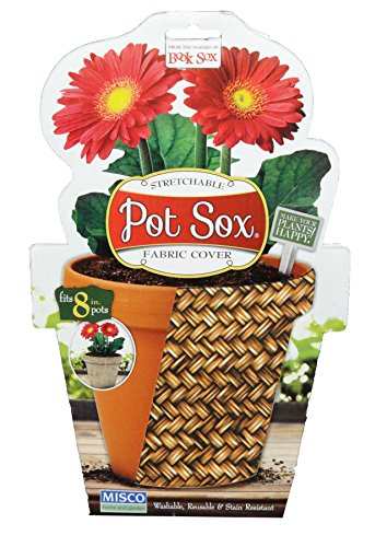 Misco Home and Garden Basket Weave Pot Sox Flowerpot Cover, 8-Inch, Multicolored (Covers Flower Pot)
