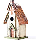 "Glitzhome 11.81""H Hanging Distressed Wooden Church Bird House"