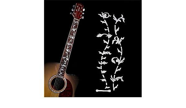 Guitarra trastes incrustaciones pegatinas adhesivos de diapasón de madera de árbol de la vida/marcador para guitarra eléctrica acústica Fret cuello nuevo ...