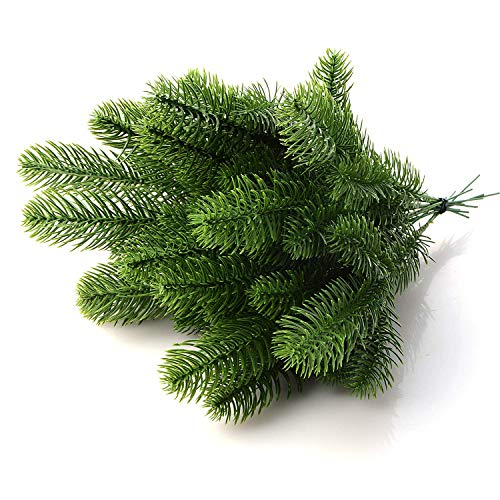 45 pcs Artificial Pine Tree Branches Fake Pine Picks Pine Needle Garland DIY Craft Wreath for Christmas Embellishing Home Garden Decor Props (Faux Holiday Garland)