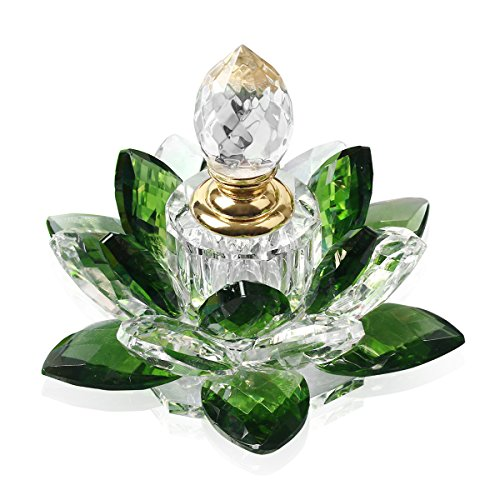 JQJ Crystal Perfume Bottles Empty Lotus Flower Figurines Gifts for Women (Green)