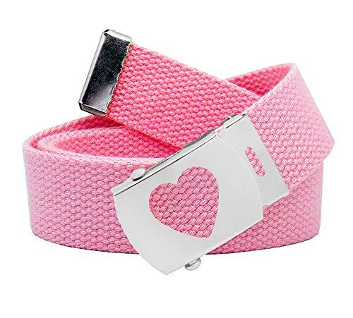 Women's Silver Slider Heart Belt Buckle with Canvas Web Belt Medium Pastel Pink ()