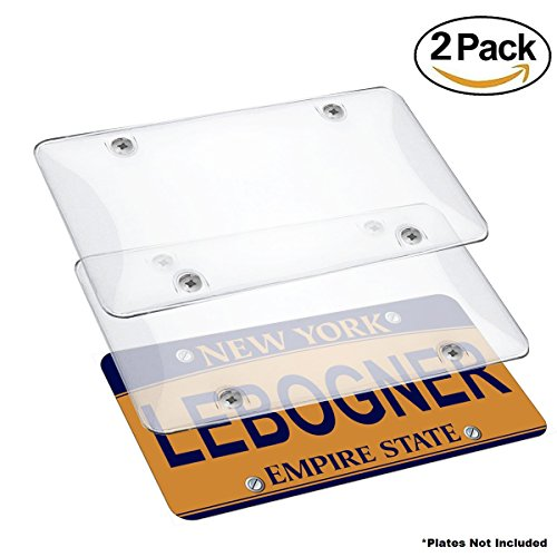 Car License Plates Shields By Lebogner - 2 Pack Clear Bubble Design Novelty Plate Covers To Fit Any Standard US Plates, Unbreakable Frame Covers To Protect Front, Back License Plates, Screws Included (License Plate Clear)