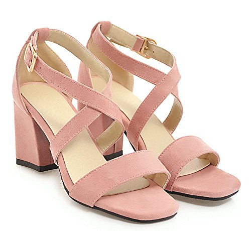 Pink Faux Women's Strap Sued Sandals Cross Buckles Aisun Trendy 8wUxwZ