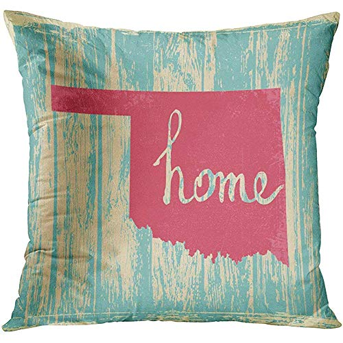 Throw Pillow Cover Map Americana Oklahoma Nostalgic Rustic Vintage State Sign Quote Proud Decorative Pillow Case Home Decor Square 18x18 Inches Pillowcase