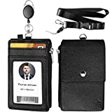 ELV Badge Holder, ID Badge Card Holder Wallet with 5 Card Slots, 1 RFID Blocking Pocket, Retractable Reel and Neck Lanyard Strap for Offices ID, School ID, Driver Licence
