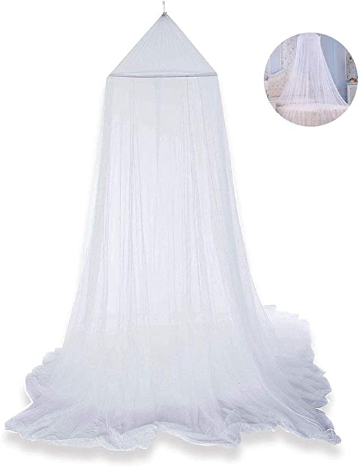 Mosquito Net for Bed Bed Canopy Curtains Princess Mosquito Net Lace Dome Bed Canopy for Children Fly Insect Protection Indoor Outdoor Decorative Height 250cm//98.4in White