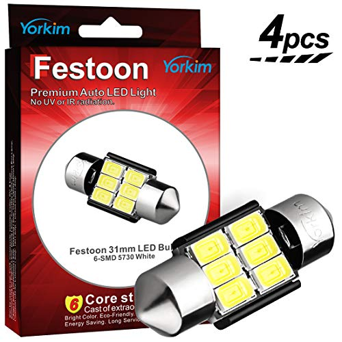 Yorkim 31mm Festoon LED Bulbs White Super Bright LED Interior Car Lights Error Free CANBUS 6-SMD 5730 Chipsets, DE3175 LED Bulb, DE3022 LED, 3175 LED Bulbs - Pack of 4 ()