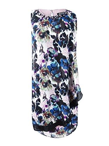 SLNY Women's Floral Beaded Trim Overlay Shift Dress Purple 8 Beaded Trim Shift Dress