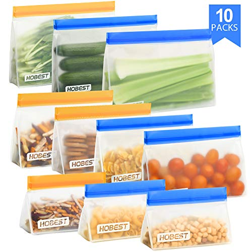 Reusable Storage Bags,Hobest 4 Stand Up Sandwich Bags, 3 BPA Free Snack Bags for Kids, 3 Leakproof Freezer Bags for…