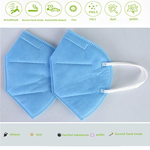 Mask pm2.5 4-Layer KN95 Face Mask Adult Anti-fog Haze Dustproof Non-Woven Fabrics Mask Blue (5pcs)