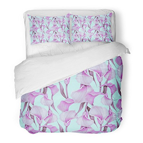 Calla Lilies Bordered (SanChic Duvet Cover Set Green Abstract Calla Lilly Flower Elegant Colorful Pattern Cute Floral Decorative Bedding Set Pillow Sham Twin Size)