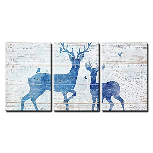 Deers and Birds on Rustic Wood Style Background x3 Panels