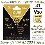256GB Micro SD SDXC V30 A1 Memory Card Plus Adapter Pack (Class 10 U3 UHS-I MicroSD XC Extreme Pro) Amplim 256 GB Ultra High Speed 667X 100MB/s UHS-1 TF MicroSDXC 4K Flash - Cell Phone, Drone, Camera