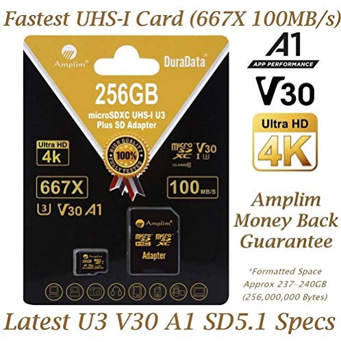 256GB V30 A1 Micro SD SDXC Memory Card Plus Adapter Pack (Class 10 U3 UHS-I MicroSD XC Card) Amplim Extreme Speed 667X 100MB/s UHS-1 256 GB MicroSDXC TF Card - Cell Phone, Drone, Camera