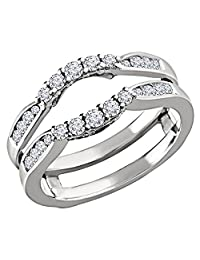 14K WHITE Gold Plated Sterling Silver SOLITAIRE ENHANCER REAL .50C Simulated Diamond RING GUARD WRAP WEDDING BAND