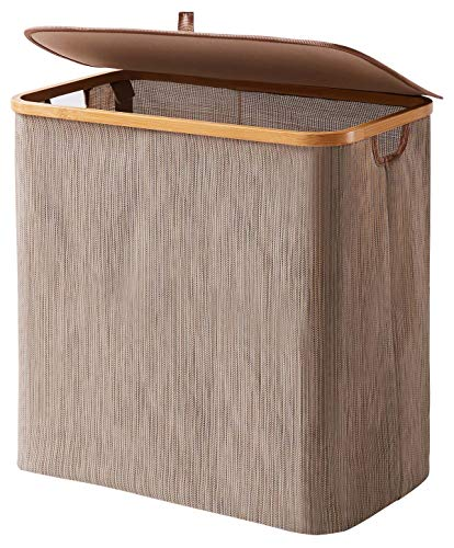 YOUDENOVA Clothes Hamper with Lid, 90L Extra Large Waterproof Bamboo Collapsible Laundry Basket with lids, Rustic Dirty Clothes Hamper Storage for Bedroom, Bathroom, Living Room, Dorm - 🌿【Waterproof Specific Material】:Different form other hampers, this laundry hamper is made of unique Textilene, a new eco-friendly material which is collapsible and waterproof. The breathable material is very suitable for damp clothes, easy to wash, never mold. Also textilene material is more sturdy than oxford fabric. 🌿【Portable & Extra Larger】: The extra larger hamper (20.8 x 13.4 x 19.7 inches) is large enough to store your whole family clothes, saving more time to enjoy your life. The cuatout handle is made of bamboo which offers you natural feeling and sturdy structure to hold at least 22 lbs weight. Also it is lightweighted (3.6 lbs), you can move it to your laundy room easily and pour the dirty clothes into the washing machine directly. 🌿【Collapsible Hamper & Saving Space】: If you have finished washing clothes, you can easily fold this bamboo laundry hamper to save space. The ideal collapsible size 21.5 X 14 X 2 inches makes it perfect for dorm room, home store or closet. - laundry-room, hampers-baskets, entryway-laundry-room - 51JMgjQlpuL -