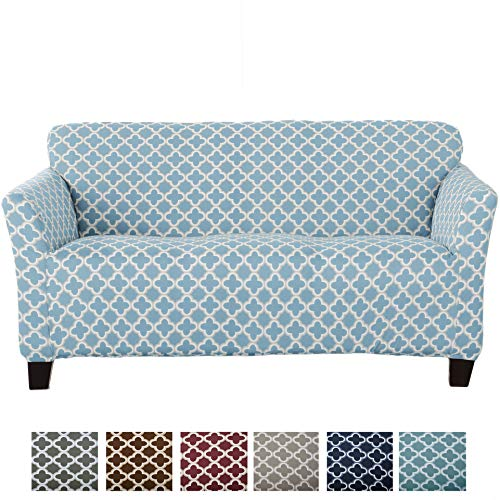 Home Fashion Designs Form Fit, Slip Resistant, Stylish Furniture Cover/Protector Featuring Lightweight Stretch Twill Fabric. Brenna Collection Basic Strapless Slipcover Brand. (Sofa, Sky Blue)