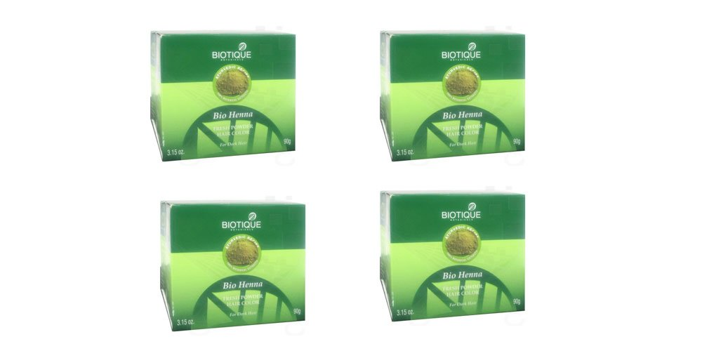 4 x Biotique Bio Henna Fresh Powder Hair Color For Greying Hair - 90g (Pack of 4) by Biotique