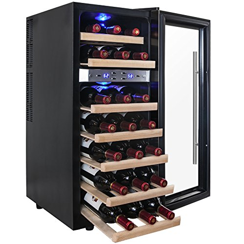 AKDY 21 Bottles Dual Zone Thermoelectric Freestanding Electric Wine Cooler Cellar w/ LED (24 Bottle Wine Cooler)