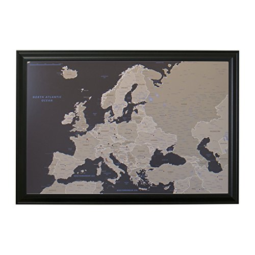 Push Pin Travel Maps Earth Toned Europe with Black Frame and Pins - 27.5 inches x 39.5 inches