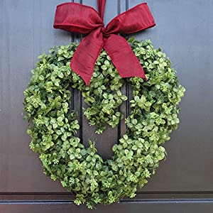 Small Artificial Boxwood Heart Valentines Day Wreath with Bow for Front Door Decor; 16 Inch 119
