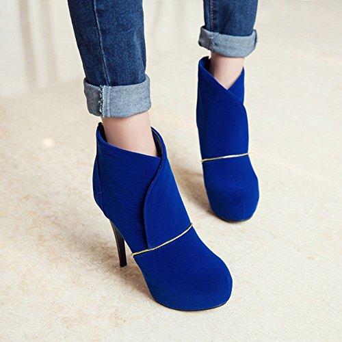 Boots High Zip Sexy Platform Carolbar Dress Heel Blue Fashion Size Stiletto Plus Womens qRBFPg