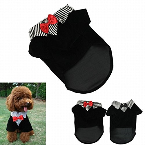 IUNEED Cute Small Pet Dog Clothes Western Style Gentelpet Suit Bow Tie Puppy Costume (Red, L)