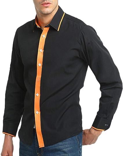 HhGold Camisa Negra para Hombre Slim Fit Top Polo Manga Larga ...