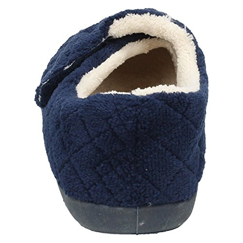 Womens Spot On Flat Velcro Slippers Navy qU0wE
