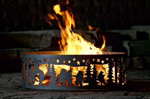 Campfire Fire Ring w Dancing Bear Design - Solid Steel (30 in. Dia.)