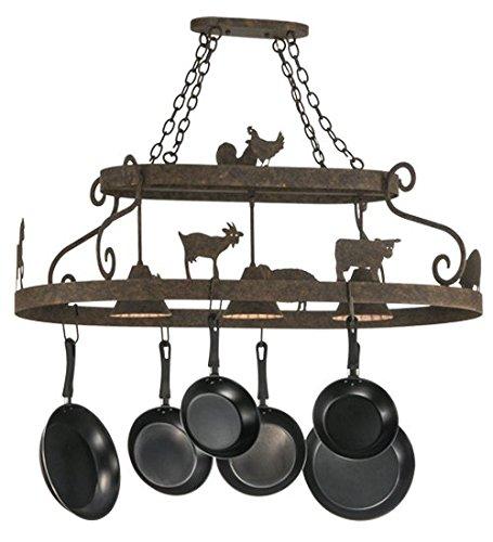 Meyda Tiffany 150295 - 46'' L Barn Animals W/Downlights Pot Rack. Custom Crafted In Yorkville - New York Please Allow 30