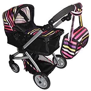 Amazon.com: Babyboo Deluxe Doll Pram with Swiveling Wheels ...