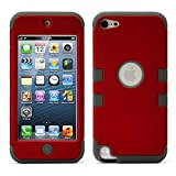 iPod Touch 5 Case, MagicMobile [Armor Shell Series] Double Layer Cover [Hard Shield] + [Flexible Silicone] Hybrid Case for Apple iPod 5th Generation [Impact Shock Resistant] / [ Red - Gray