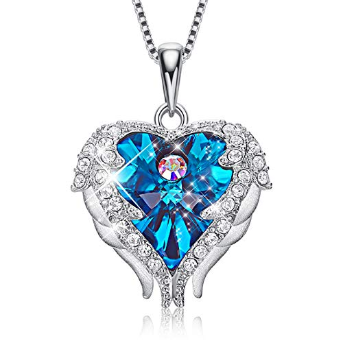 CDE Angel Wing Mothers Day Necklaces for Women Embellished with Crystals from Swarovski Pendant Necklace Heart of Ocean Jewelry Gift for Mom