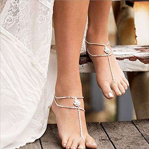 (Milanco Boho Rhinestone Sequins Layered Foot Jewelry Silver Wedding Bridal Anklet Bracelet Beach Barefoot Sandals with Coin Toe Ring for Women and Teen Girls(1PC))