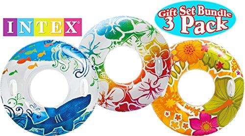 Intex Transparent Inflatable Tubes Tropical Designs Gift Set Bundle - 3 Pack