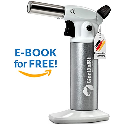 GerDaRi Butane Torch - Blow Torch - Culinary Torch - Best Professional Mini Cooking Kitchen Torch - Crème brûlée - Backing - Pastry - BBQ - Crafting - Safety Lock & Adjustable Flame Silver