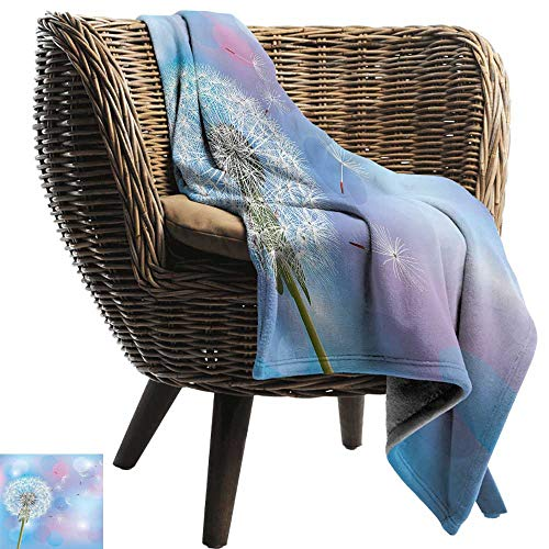 Dandelion Blanket Sheets Bokeh Background Flower with Wind Blowing Seeds Gardening Plants Sofa Chair 91