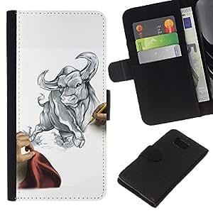 Stuss Case / Funda Carcasa PU de Cuero - Dibuja Sketch Bull Tauro Lucha feroz Matador - Samsung ALPHA G850
