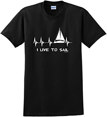 Heartbeat Sailing Mens Funny Adult Long-Sleeved T Shirt