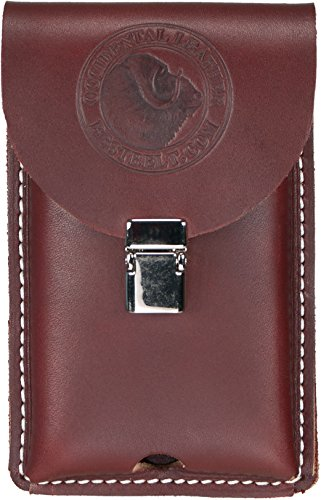 Occidental Leather 5326 Occidental Hand crafted Clip-On Leather Phone Holster Fits Most Smart Phones Including Iphone 5, 6, 7,  Samsung 6, Regular