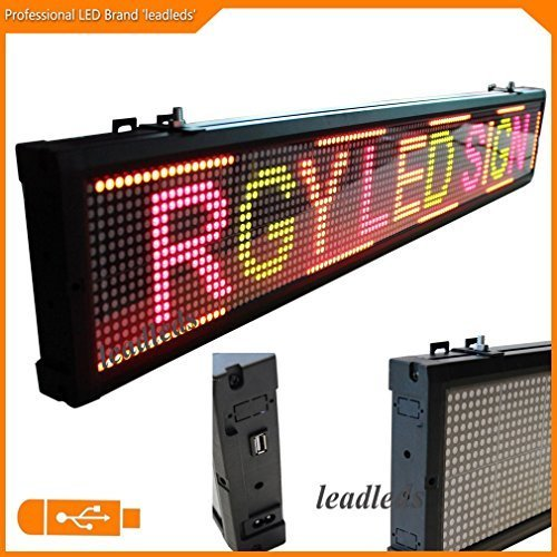 Leadleds 40x6.3 Inches RGY Tri-Color ( Red, Green, Amber ) LED Display Board, Usb Programmable Scrolling Message for Business, Store, (Amber Led Window Sign Displays)