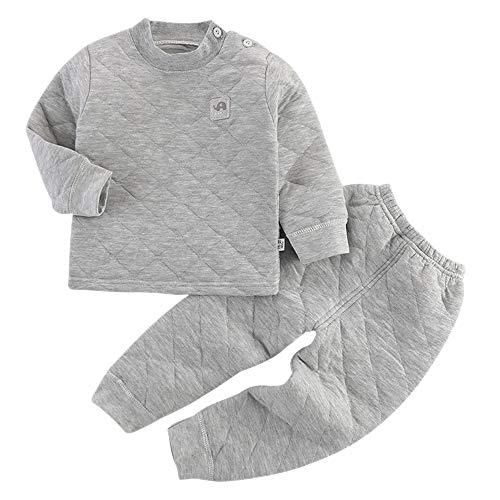 Vestiti 1 E Lunga Età Biancheria Set Neonato Pantaloni Di 6 Bozevon Unisex Grigio Manica Termica Top Intima Per AOqZwZvBx