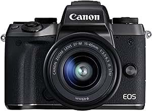 Canon EOS M5 - Cámara sin espejo de 24,2 MP (pantalla táctil de 3,2, procesamiento DIGIC, 7 fps, Bluetooth, WiFi, NFC), negro - kit con cuerpo, objetivo EF-M 15-45 S y con adaptador EF-EOS M incluido